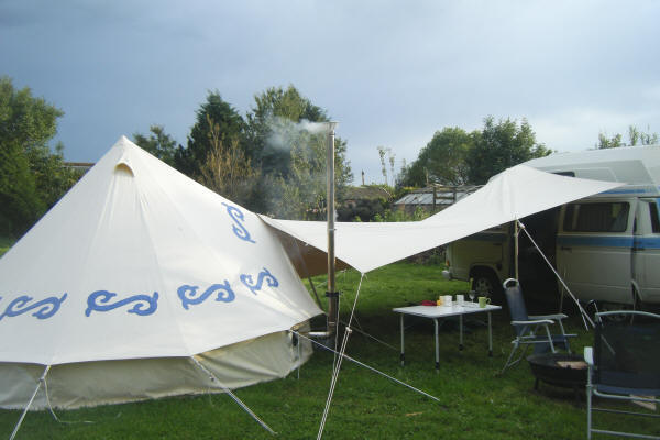 The Spinnaker Tarp is used to join the Bell Tent to the C&ervanjoin & Review Bell Tent and Spinnaker Tarp