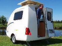 The Going Cockpit Caravan - The Baby Going caravan with kitchen, gas hob mains and 12 volt electric, double bed and dining table